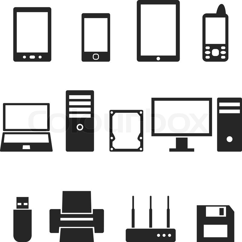 800x800 Icons Of Computer Hardware And Gadgets In The Vector Stock