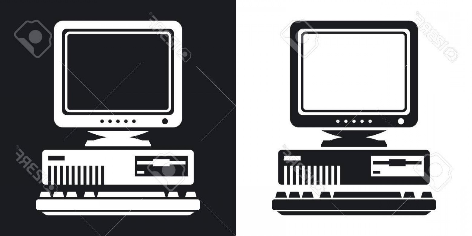 1560x780 Photostock Vector Vector Retro Computer Icon With Keyboard And Crt