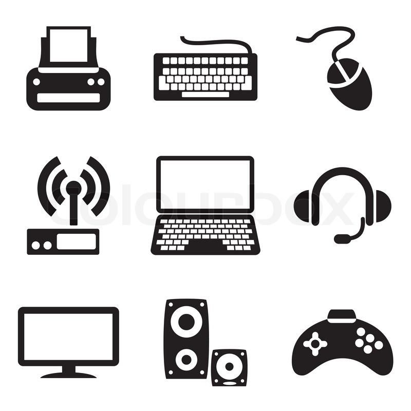 800x800 Set Vector Computer Icons Of Computer Devices Stock Vector