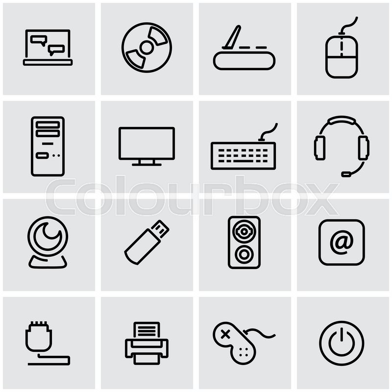 800x800 Vector Line Computer Icon Set. Computer Icon Object, Computer Icon