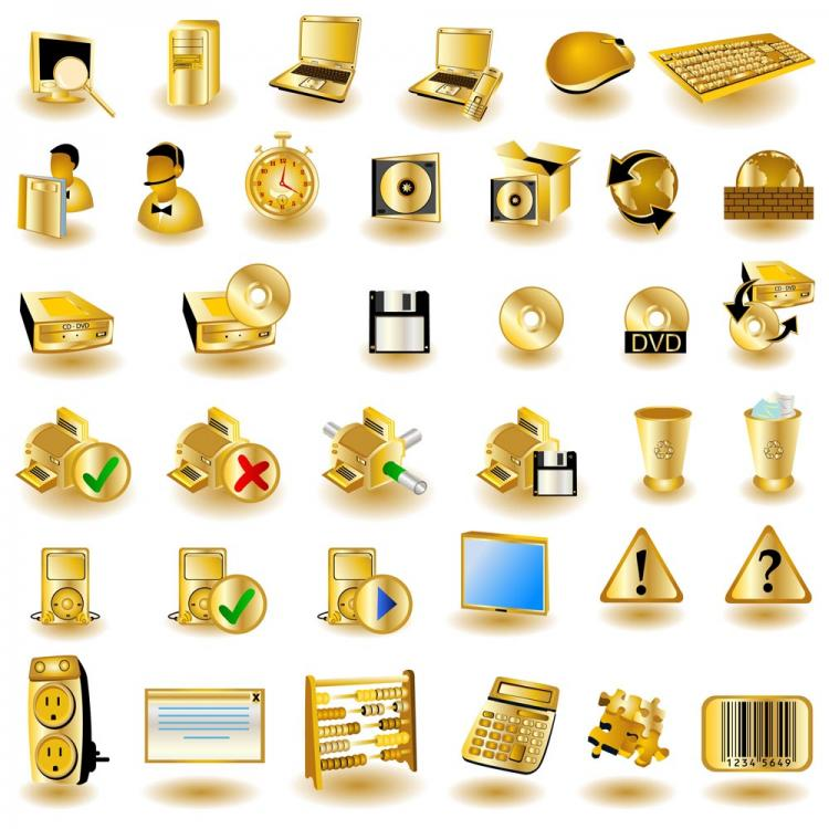 750x750 Gold Common Computer Icon 01 Vector Free Vector 4vector