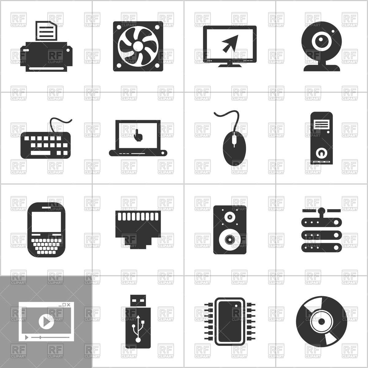 1200x1200 Set Of Computer Icons Vector Image Vector Artwork Of Icons And