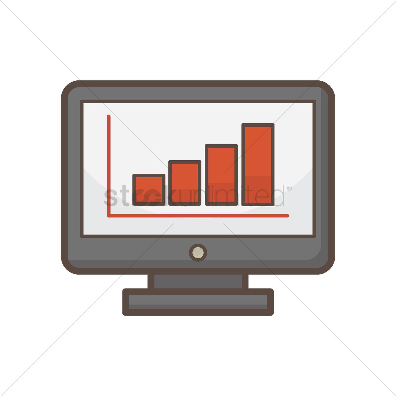 1300x1300 Statistical Reports On Computer Screen Vector Image