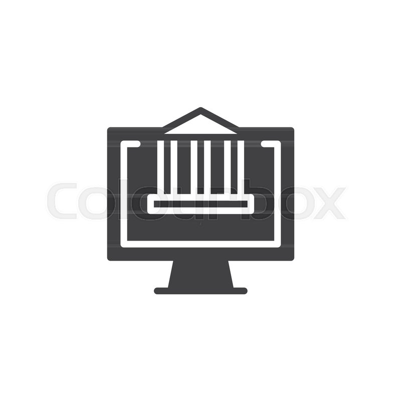 800x800 Bank Building On Computer Monitor Screen Vector Icon. Filled Flat