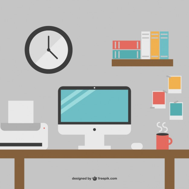 626x626 Desk With Printer And Computer Vector Free Download