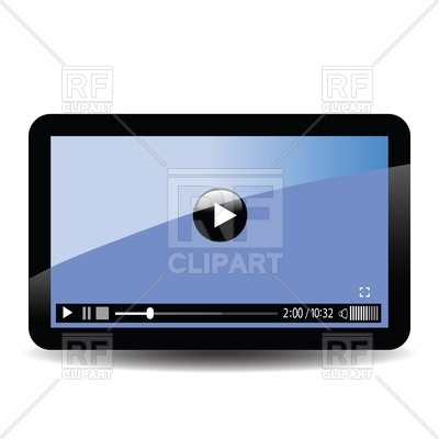 400x400 Interface Of Video Player On Screen Of Tablet Computer Vector