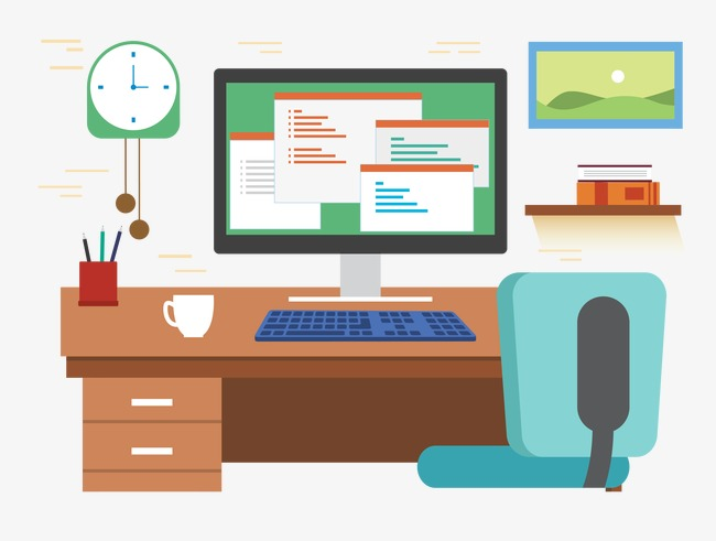 650x491 Vector Office Desk Computer, Office Desk, Computer, Vector Png And