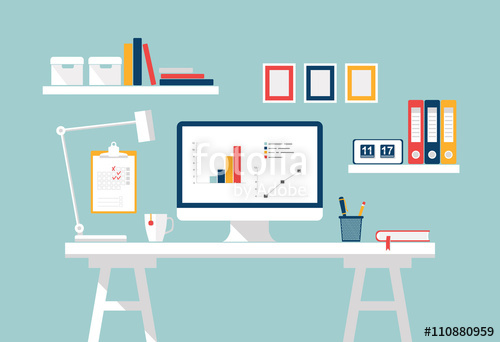 500x342 Workspace. Home Office Interior. Stylish Home Or Studio. Workplace