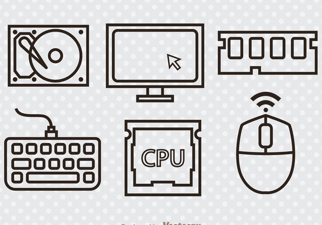 632x443 Computer Hardware Outline Icons Free Vector Download 341919 Cannypic