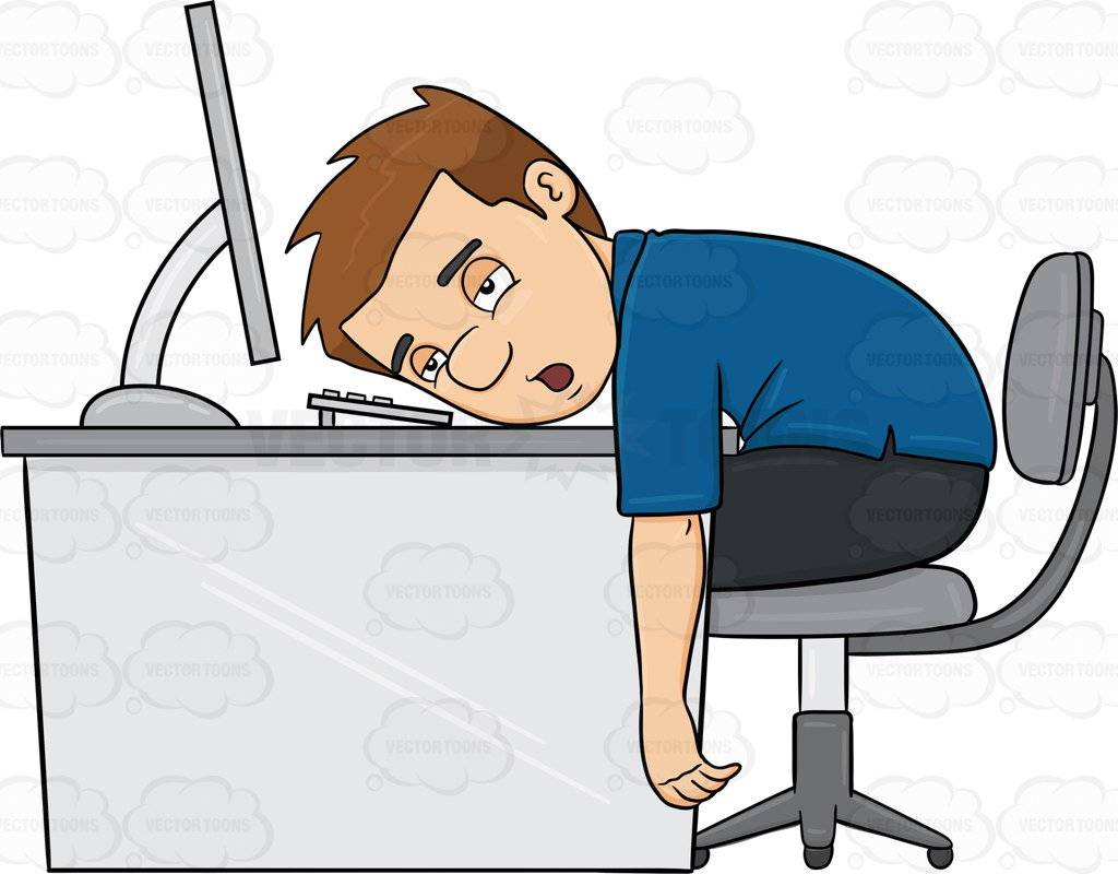 1024x800 A Man Tired From Working On His Computer Clipart By Vector Toons