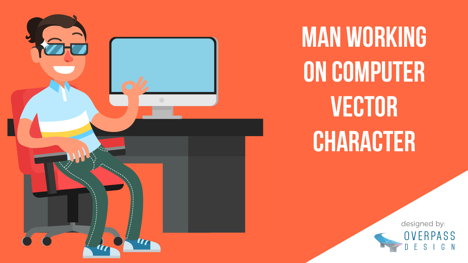 1920x1080 Freebie Man Working On Computer Vector Character