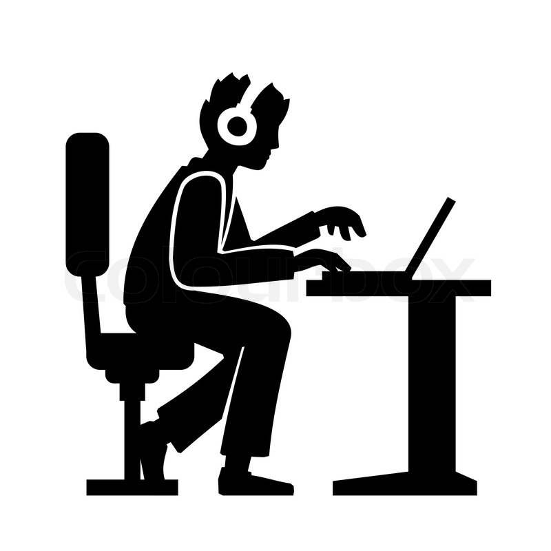 800x800 Programmer Silhouette Working On His Computer. Vector Illustration