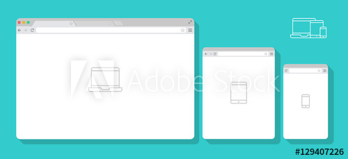 500x229 Set Of Flat Blank Browser Windows For Different Devices. Vector