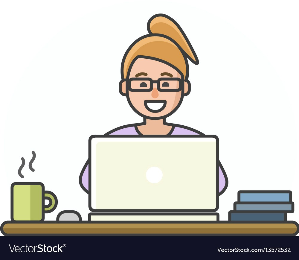 1000x869 Cartoon Woman Character Working On Computer Vector 13572532 17