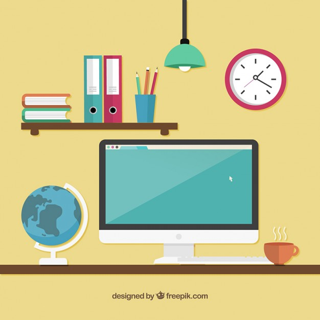 626x626 Workspace With A Computer Vector Free Download