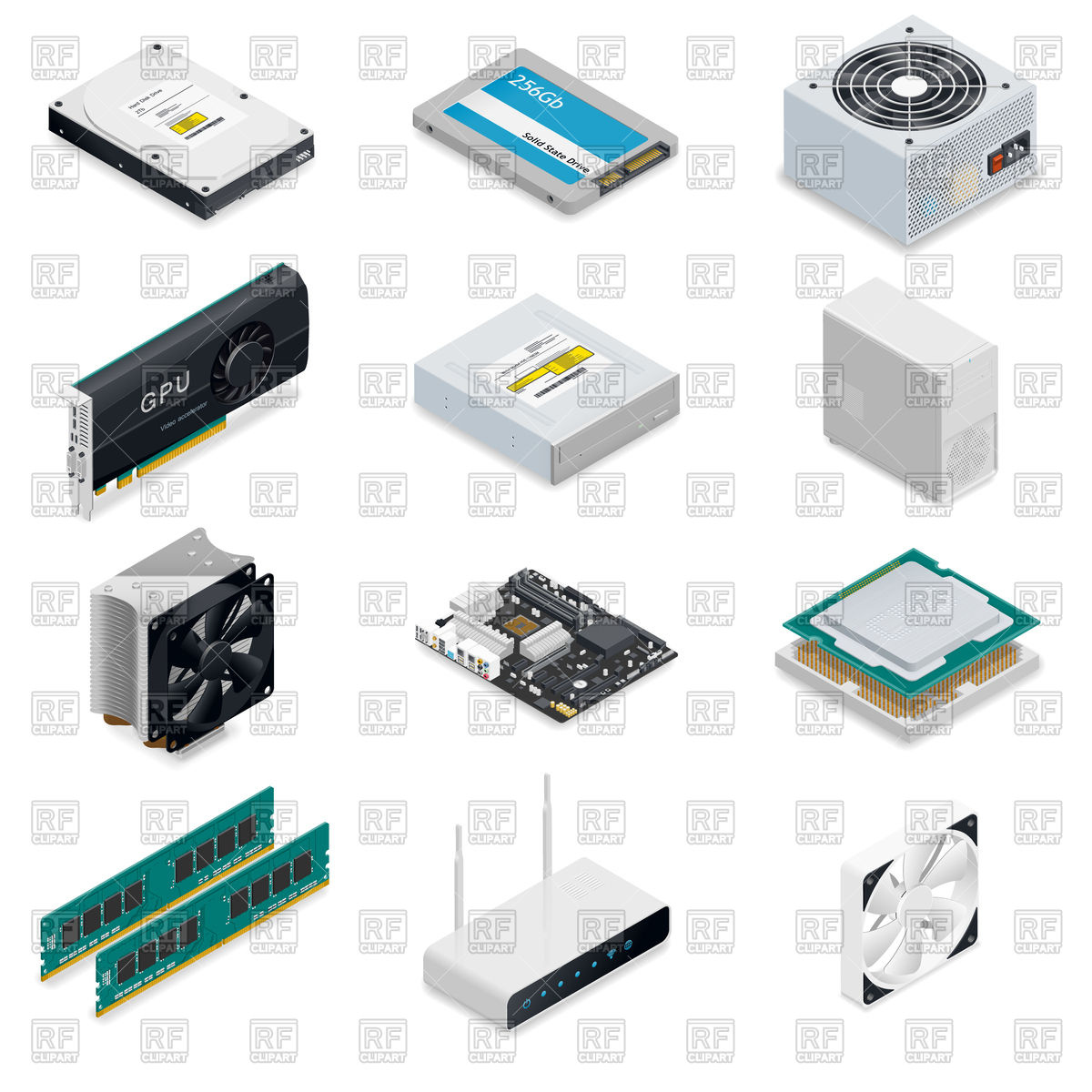 1200x1200 Computer Detailed Isometric Parts Vector Image Vector Artwork Of