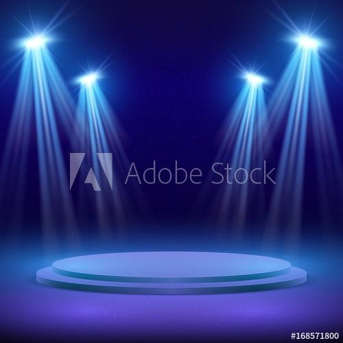 500x500 Concert Stage With Spot Light Lighting. Show Performance Vector