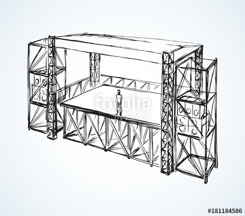 500x441 Podium Concert Stage. Vector Drawing Stock Image And Royalty Free