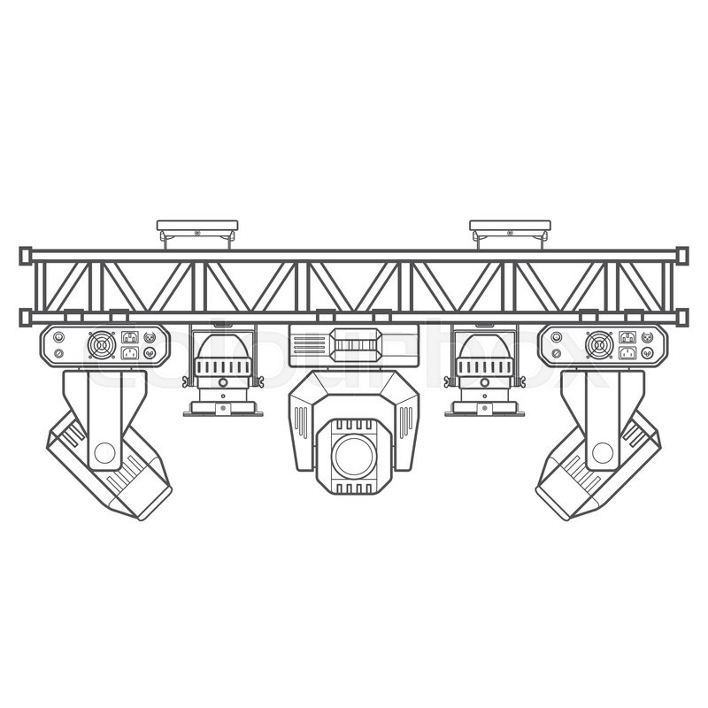 800x800 Vector Monochrome Contour Metal Frame Concert Stage Truss Lighting