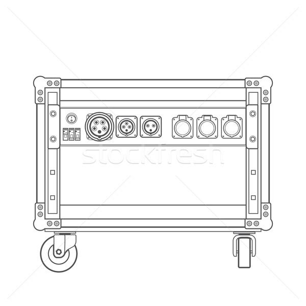 600x600 Dark Contour Concert Stage Rack Box Power Sockets Panel Illustra