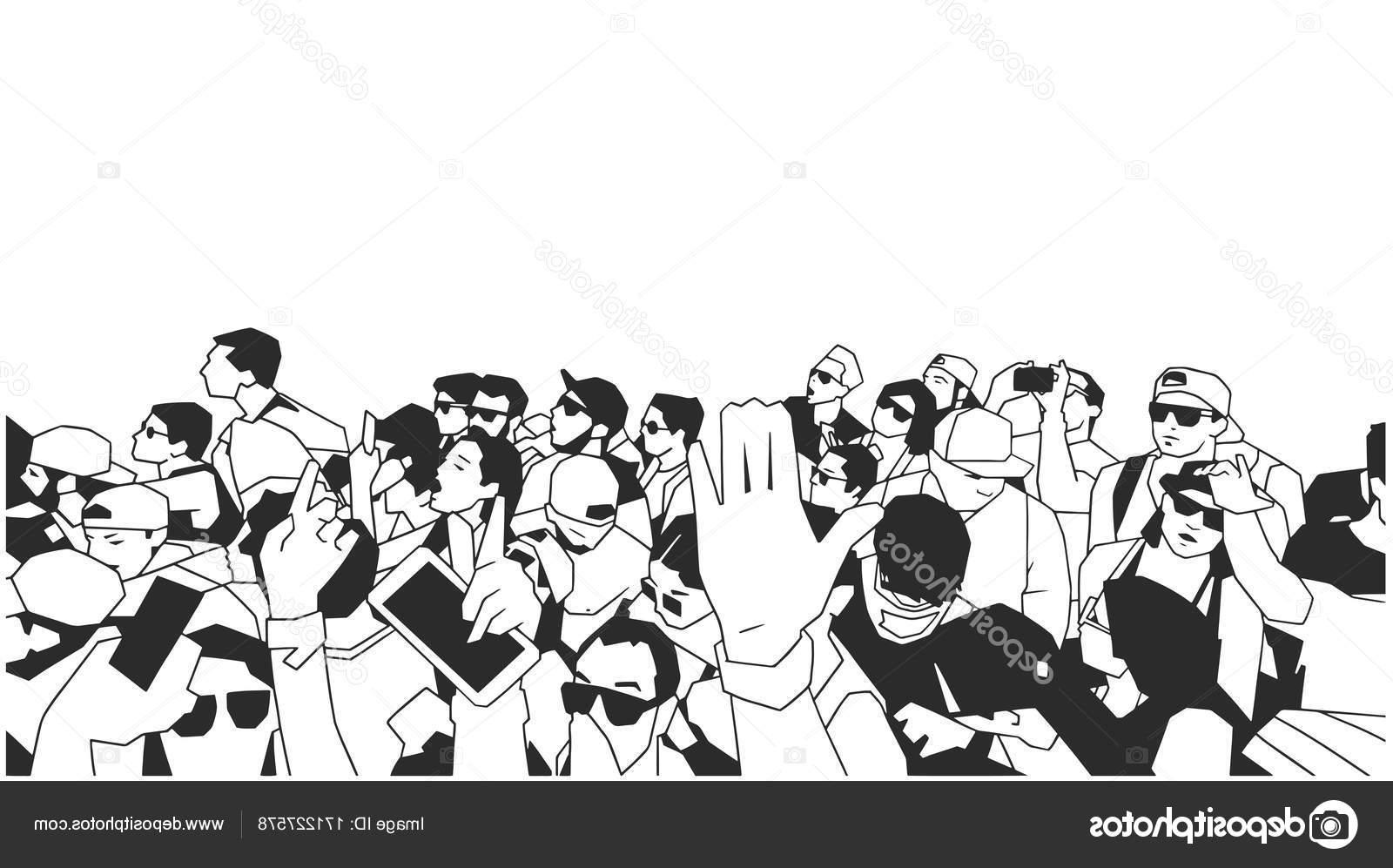 1600x997 Hd Cartoon Crowd Cheering At A Concert Vector Library Free