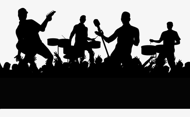 650x400 Concert Crowd Cheering People Silhouettes Vector, Cheering Crowd