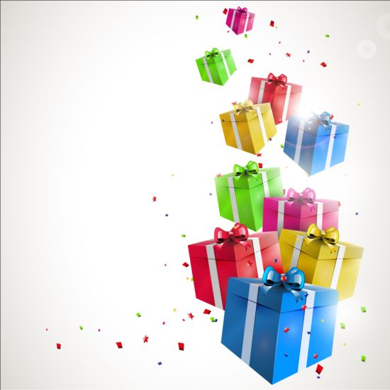 550x550 Birthday Gift With Confetti Vector Background Free Download