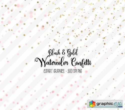 500x438 Blush And Gold Watercolor Confetti Free Download Vector Stock
