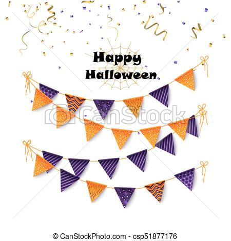 450x470 Halloween Party Banting. Halloween Flags And Confetti.... Vectors