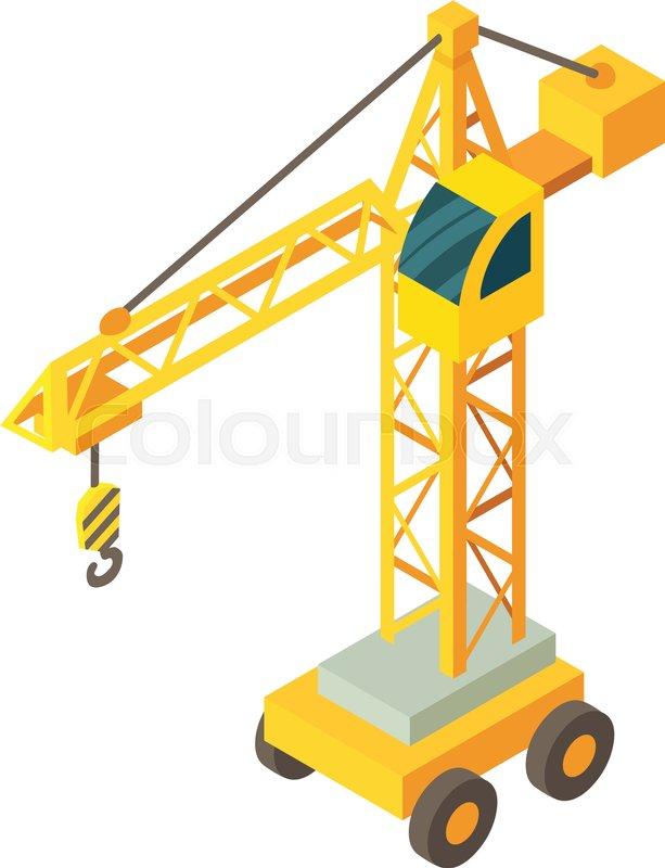 613x800 Construction Crane Icon. Isometric Illustration Of Construction