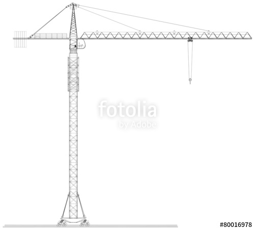 500x451 Tower Construction Crane. Vector Rendering Of 3d Stock Image And