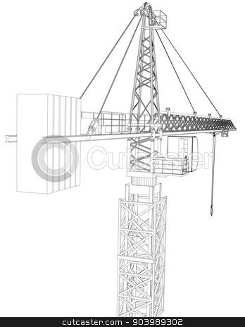 348x464 Tower Construction Crane. Vector Rendering Of 3d Stock Vector