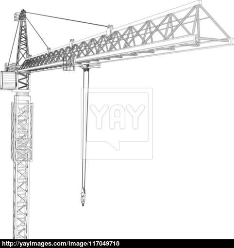 482x512 Tower Construction Crane. Vector Rendering Of 3d Vector