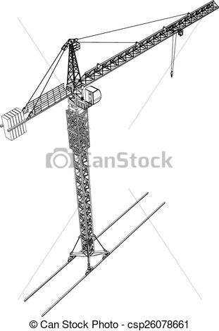 311x470 Tower Construction Crane. Vector Rendering Of 3d. Tower