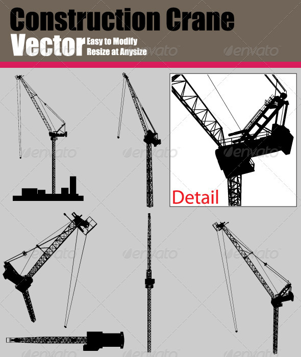 590x700 Vector Crane Silhouette Set By Ozgers Graphicriver