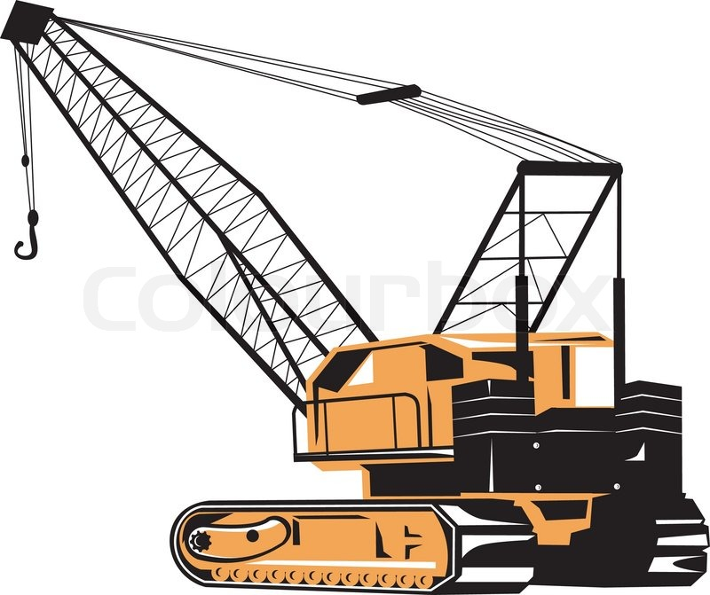 800x671 Construction Crane Hoist Retro Stock Vector Colourbox