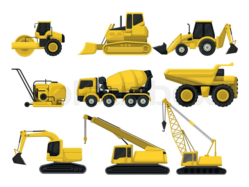 800x601 Flat Vector Set Of Construction Equipment. Special Machines For