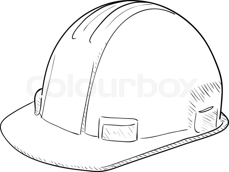 800x602 Hand Drawn Vector Drawing Of A Construction Hard Hat. Stock