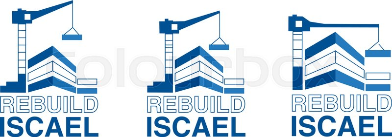 800x281 Building Construction Logo Illustration. Crane And Building