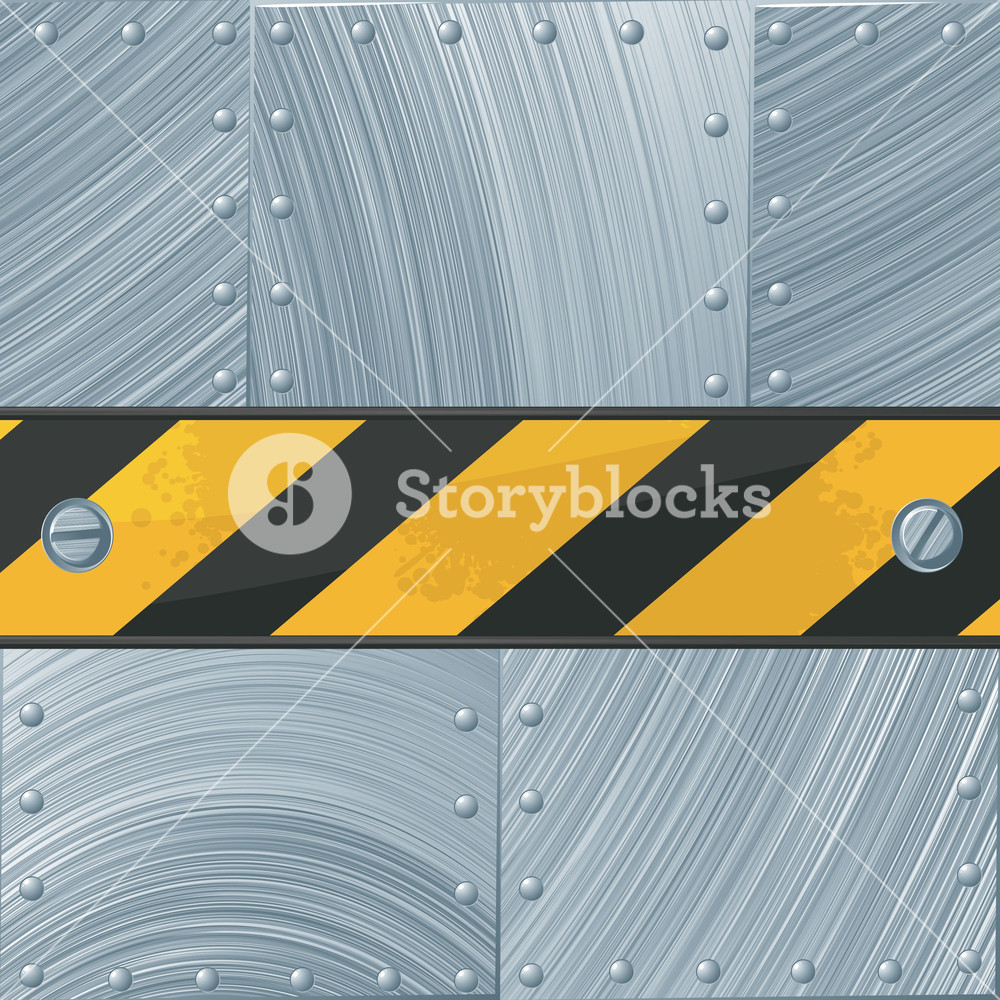 1000x1000 Steel Vector Background With Construction Tape. Royalty Free Stock