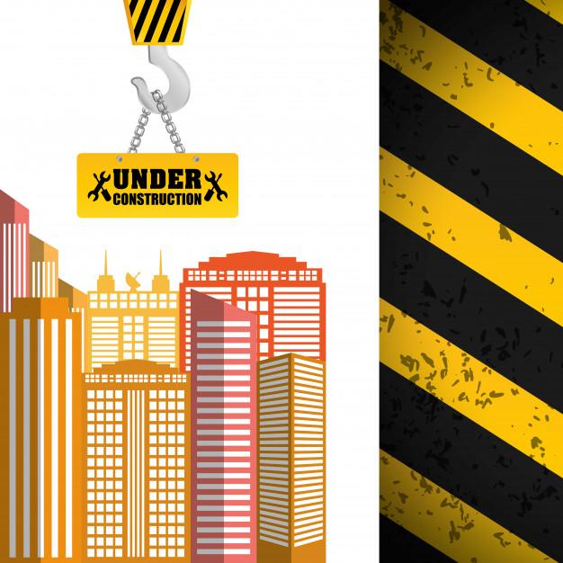 626x626 Building Sign Hanging Crane Under Construction Tape Vector