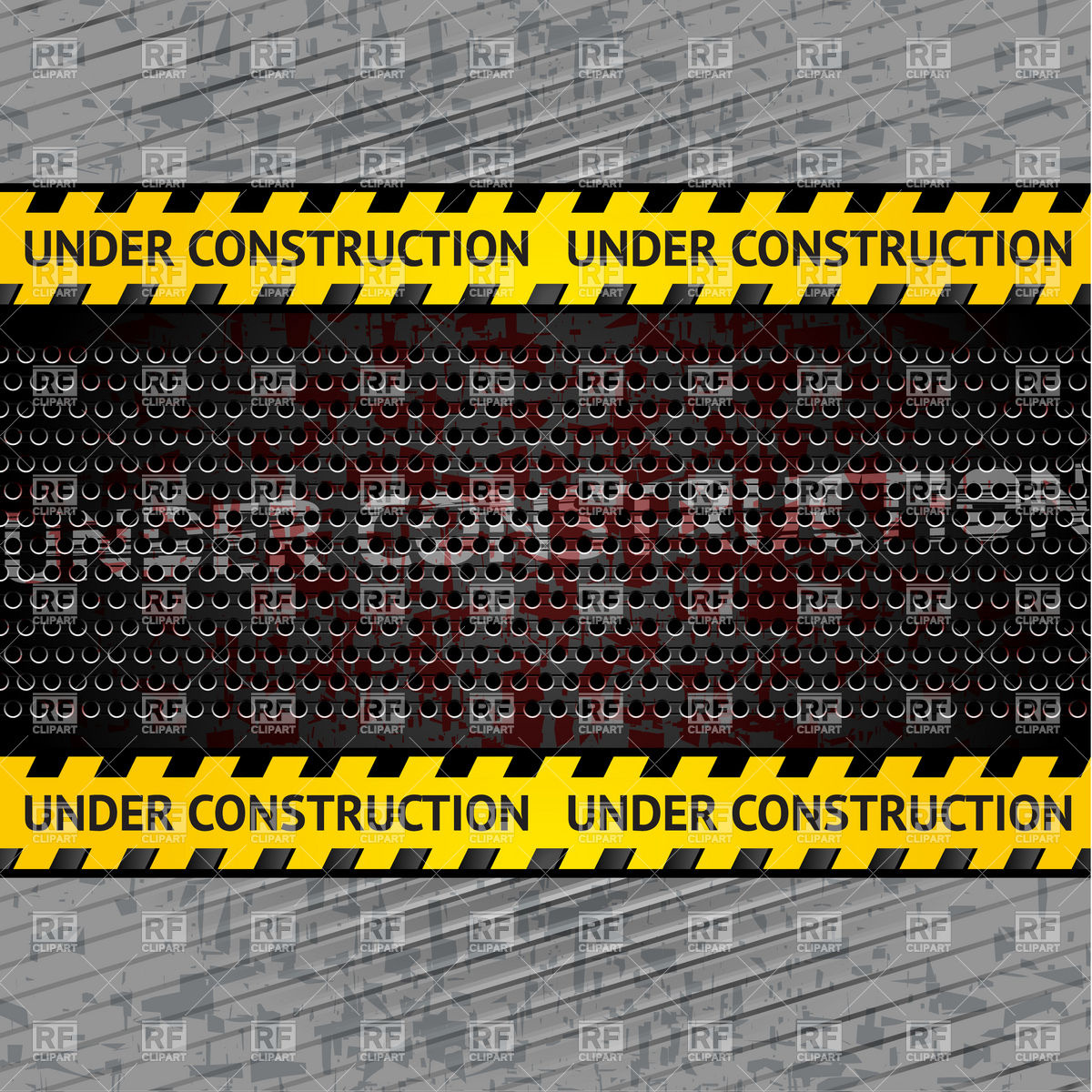 1200x1200 Under Construction Striped Tape On Perforated Metal Rusty