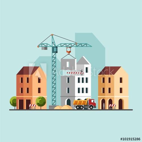 500x500 Construction Site, Building A House. Under Construction. Vector
