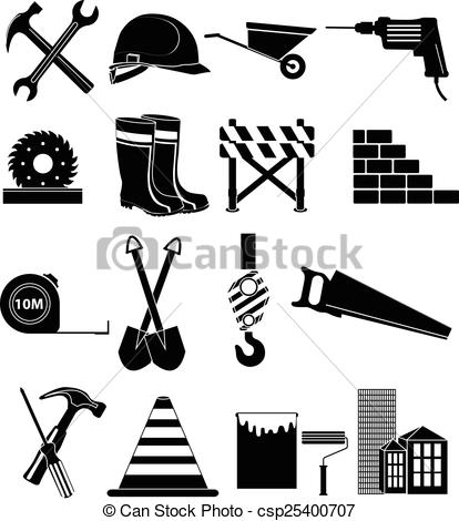414x470 Construction Icons Set. Construction Vector Icons Set In Black.