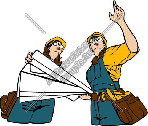 500x425 Female Construction Workers With Blueprints Clipart And Vectorart