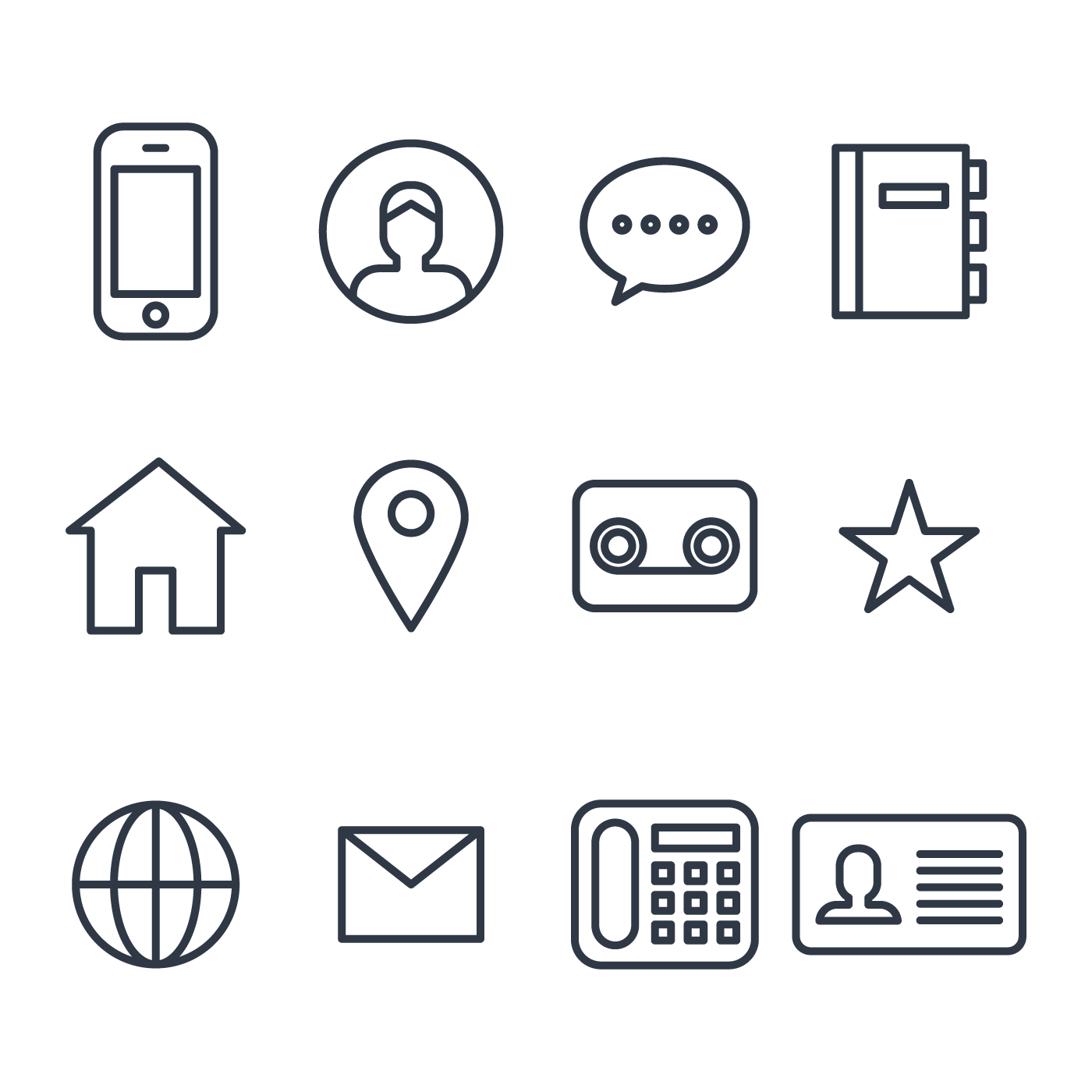 1400x1400 Contact Icons Free Vector Art