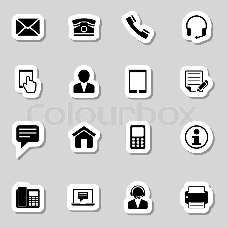 800x800 Contact Icons Set As Labes Stock Vector Colourbox