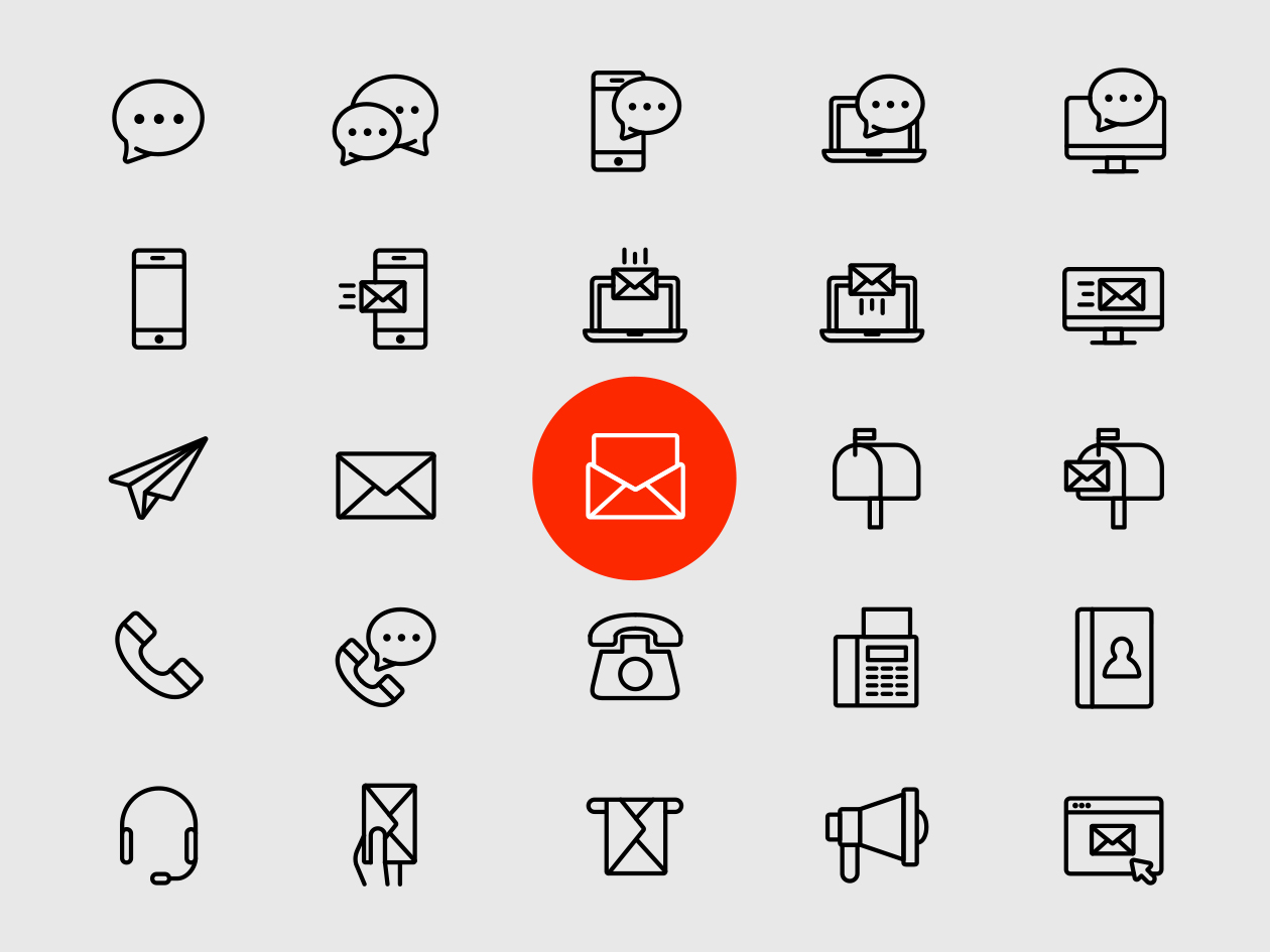 1260x945 25 Line Contact Icons Vector Format