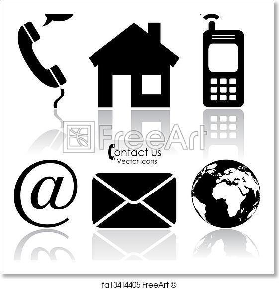 561x581 Free Art Print Of Vector Contact Icons. Vector Contact Icons Set