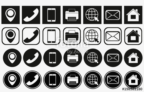 500x322 Vector Business Card Contact Information Icons. Business Card